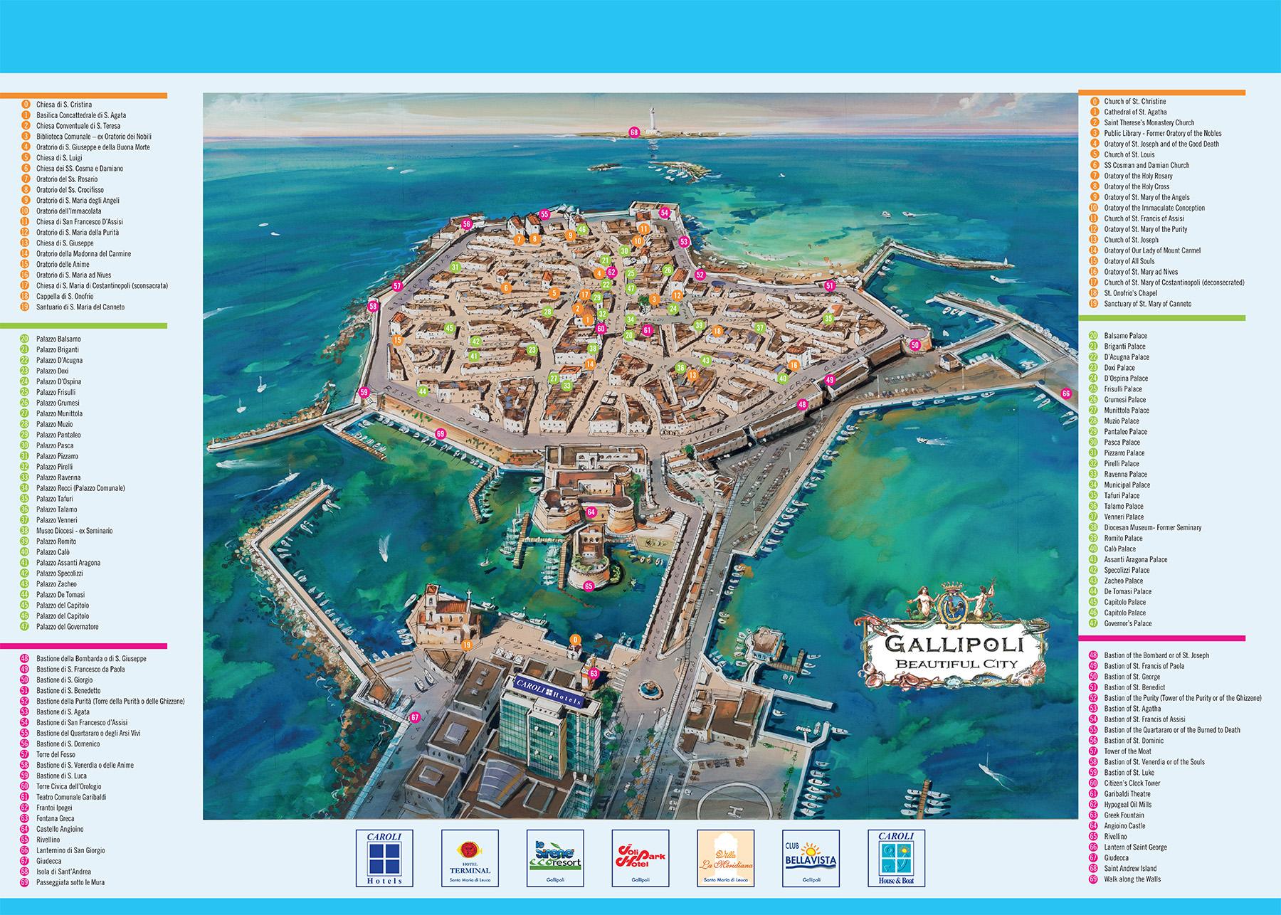 Cartina Geografica Italia Gallipoli.Cartina Illustrazione 02 Caroli Hotels